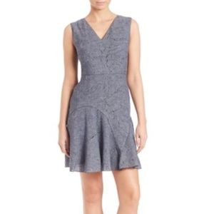 NWT Elie Tahari denim paneled linen dress